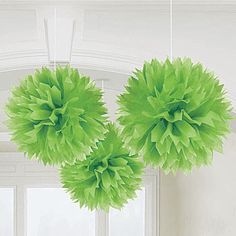 Green Fluffy Ball Decorations, Green Tissue Ball  love this color for decorations with blue and white