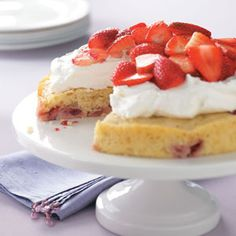 Lemon-Berry Shortcake Recipe. Add some blueberries to make it even more patriotic! mothers day, shortcak recip, fun recip, strawberry shortcake, strawberri, healthy desserts, whipped cream, lemonberri shortcak, berries