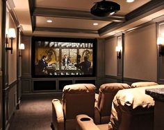 """movie theater wall sconces color palette"""" """"theater with bar seating behind"""" """"wall sconces in theater"""" """"ceiling home theater"""" """"Narrow home theater, stadium seating"""""""