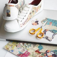 Fabric scraps on shoes