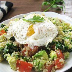Mexican Quinoa Power Breakfast by queenofquinoa:  Avocado, kale, tomato, quinoa and eggs - a perfect combo to start the day #Breakfast #Savory #Quinoa #Egg #Avocado #Kale #Healthy