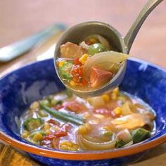 Chicken and ham make a main dish stew that simmers all day in a slow cooker.