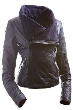 E Funk Women's 100 \% Lamb Leather Fitted Asymmetric Jacket