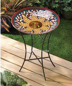 RADIANT SUN Colorful Mosaic Garden Birdbath Glass Bowl Birds Yard Decor Priced at $44.34 w/ free shipping