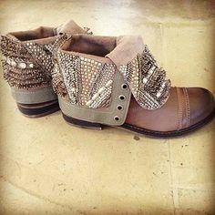 Embellished fold-over ankle boots.