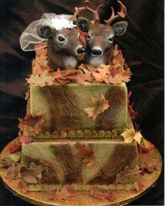 wedding cake toppers, dream wedding cakes, camo wedding, wedding ideas, weddings, camo cakes, redneck, deer heads, groom cake