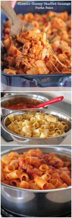 Quick and simple weeknight dinner idea…Classic Cheesy Stuffed Sausage Pasta Bake!