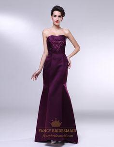 Strapless Mermaid Prom Dress, Eggplant Purple Dresses With Pleated Bust, Purple Strapless Mermaid Prom Dress, Strapless Long Beaded Mermaid ...