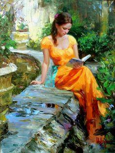 Reading Time - Vladimir Volegov; orange dress