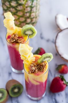Yummy tropical fruit smoothie for summer.