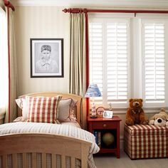 Stripes and Checks - For a young boy's bedroom, rely on classic patterns with a masculine edge, such as plaids, stripes, and checks. These more sophisticated patterns will carry the room into the boy's teenage years, especially if they sport a classic red-and-khaki colorway.