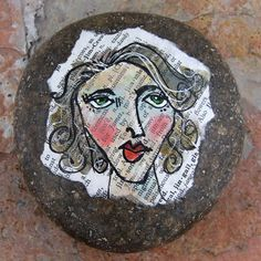 Face Rock 19 original painted lady face on by ARTfortheSOULofit, $25.00
