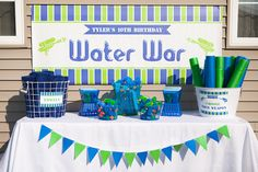 Water War Weapon Table  Boys Summer Party