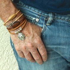 Men BOHO LEATHER and Wood Wrap Bracelet   Unisex by WrappedinYou, $14.50