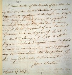 Jane Austen´s last will and testament
