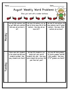This is a collection of ALL of my Weekly Word problems.  These word problems provide students with a brief problem solving practice each day.  I've...