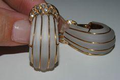 18kt Y Gold Fine Diamond Rock Crystal Quartz Earrings Stamped | eBay