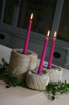 Jute Spool Candlesticks