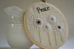 Embroidery Hoop Art Peace Hand Embroidered Wall Art
