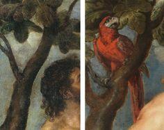 Diferencia nº 1 entre el original de Tiziano y la copia de Rubens: EL LORO. Del post http://harteconhache.blogspot.com.es/2013/07/las-siete-diferencias-entre-tiziano-y.html