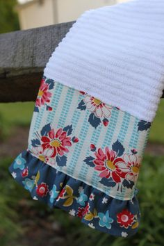 Vintage Inspired Ruffle Kitchen Towel/teal blue red by freshregard, $10.00