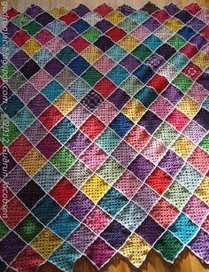 Granny squares crochet blanket
