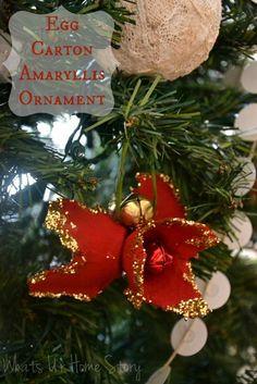 Whats Ur Home Story: egg carton ornaments, DIY Christmas ornaments, handmade Christmas ornament, holiday amaryllis ornament