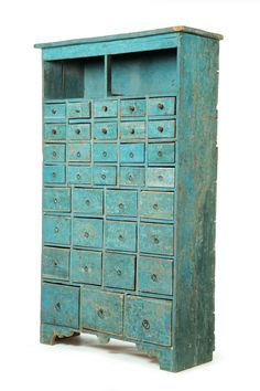 early 19th century apothecary chest in old robin's egg blue paint