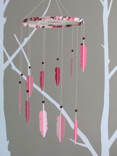 Dream Catcher Mobile - paint swatch mobile - paint chip mobile - feather mobile - modern - pink and brown. $70.00, via Etsy.