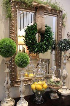 wreath holiday, mirror, savvi season, vignett, burlap bows, wreath, savvy seasons by liz, candlestick, christma