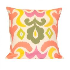 Multi coloured ikat pillow