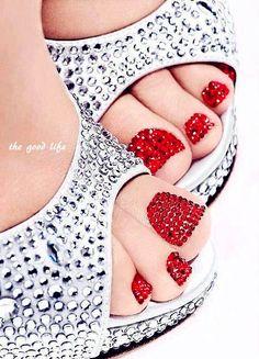red prom nails, trendy nails, nail polish, red diamond, red toe, shoe, diamond nail, prom nails red, party nails