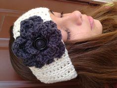 Head band flower crochet