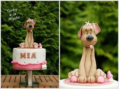 Cute Puppy Topped Birthday Cake