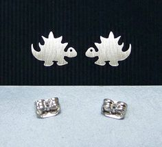 925 sterling silver dinosaur ear studs handmade by artstudio88, $12.99