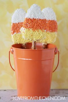 Candy Corn Crispy Treats by Love From The Oven