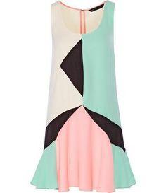 Color-block cady mini dress