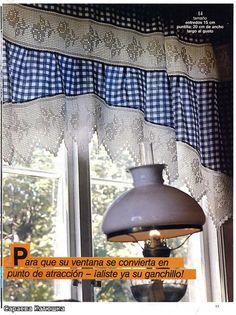 Вязанная вставка для занавески cortina, crochet, elisi, crochê filet, curtain