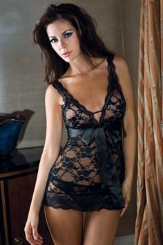 Black Lace Chemise With Ribbon by iCollection
