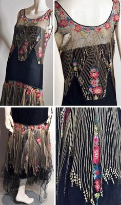 1920s silk tulle flapper dress. Very fine embroidery depicting flowers in shades of pink, blue, green, and yellow with lines of fine cream chain stitch. Busby Auctions/ LiveAuctioneers