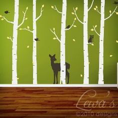 I like this decal wall design even better for my boys room.  I think it will fit GREAT for a camping theme.