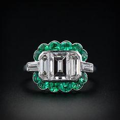 Art Deco diamond ring with emeralds.
