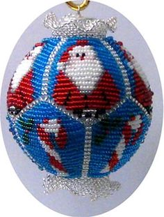 Santa Beaded Ornament Cover Pattern by Brisingamen at Bead-Patterns