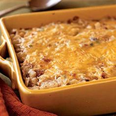 Hash Brown Casserole with Bacon, Onions, and Cheese