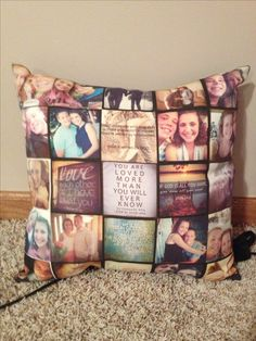 Pillow with pictures. Great gift idea for grandparents, parents, loved ones.