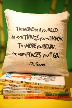 Dr. Seuss: Oh the Places You'll Go Pillow - Encourage Reading oh the places you'll go room, quotes reading place, read pillow