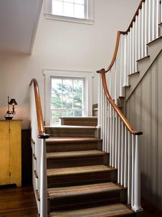 Stairs in front of windows  John B. Murray Architect: Houses