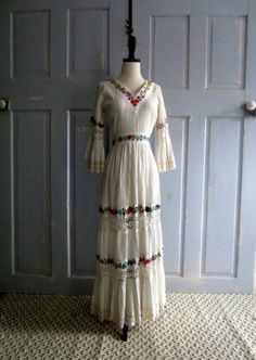 Embroidered 60s 70s Mexican Wedding Dress =========> The perfect hippie wedding!  $115.00