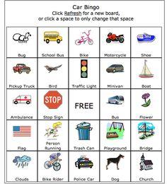 Car Bingo/ Road Trip Bingo