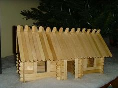 craft stick log cabin tutorial